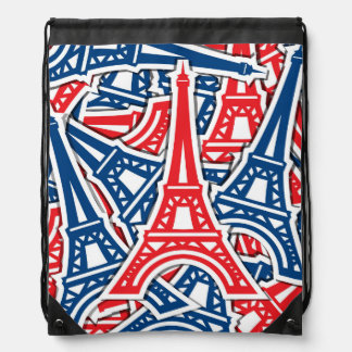 Eiffel Tower, France Pattern Drawstring Bags