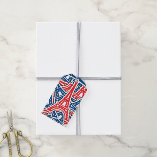 Eiffel Tower, France Pattern Gift Tags