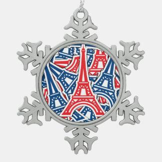 Eiffel Tower, France Pattern Pewter Snowflake Ornament