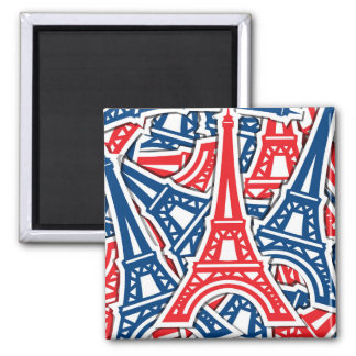 Eiffel Tower, France Pattern Square Magnet