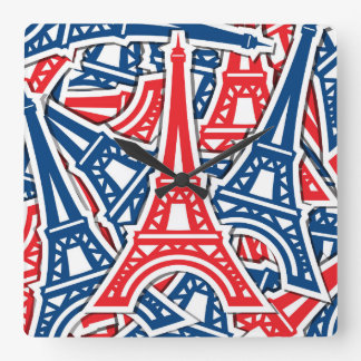 Eiffel Tower, France Pattern Square Wall Clock