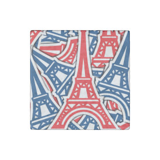 Eiffel Tower, France Pattern Stone Magnets