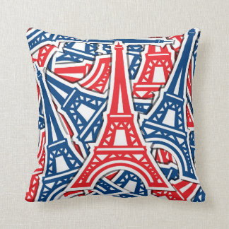 Eiffel Tower, France Pattern Throw Pillow