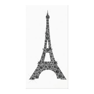 Eiffel Tower French Paris Black White Crystal Canvas Print