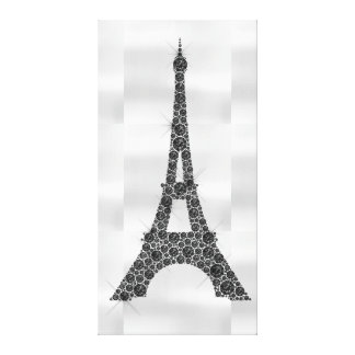 Eiffel Tower French Paris Black White Luxury Canvas Print