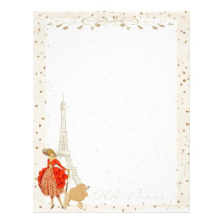 EIFFEL TOWER, FRENCH WOMAN +  POODLE in PARIS Letterhead