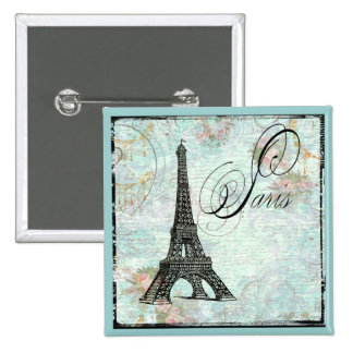 Eiffel Tower French Writing 2 Inch Square Button