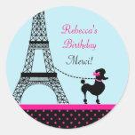 Eiffel Tower Girl Birthday Favour Sticker
