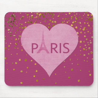 Eiffel Tower Gold Glam Confetti Dots | Paris Mouse Pad