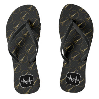 Eiffel Tower gold glitter sparkle pattern Monogram Flip Flops