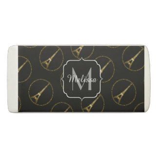 Eiffel Tower gold glitter sparkles black Monogram Eraser