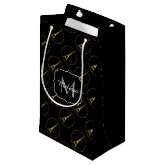 Eiffel Tower gold glitter sparkles black Monogram Small Gift Bag