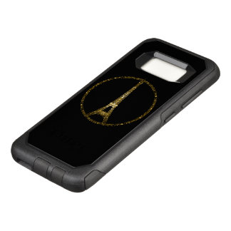 Eiffel Tower gold glitter sparkles on Black OtterBox Commuter Samsung Galaxy S8 Case