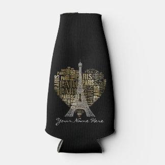 Eiffel Tower | Golden Inscriptions Paris in Heart Bottle Cooler