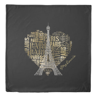 Eiffel Tower | Golden Inscriptions Paris in Heart Duvet Cover