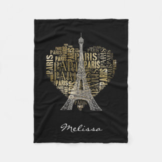 Eiffel Tower   Golden Inscriptions Paris in Heart Fleece Blanket