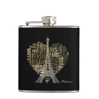 Eiffel Tower | Golden Inscriptions Paris in Heart Hip Flask