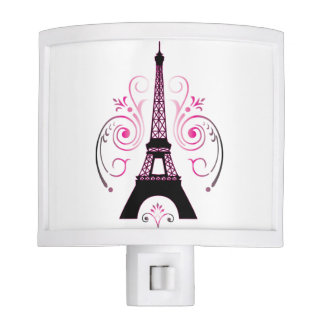 Eiffel Tower Gradient Swirl Design Night Lights