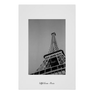 Eiffel Tower Greyscale Poster