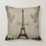 Eiffel Tower Grunge American MoJo Pillow