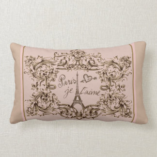 "Eiffel Tower ""I love Paris"" ""Paris Je taime"" Lumbar Pillow"