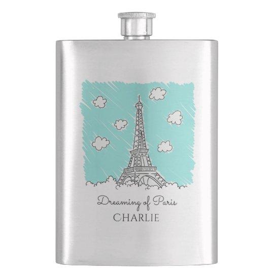 Eiffel Tower Illustration custom name flask