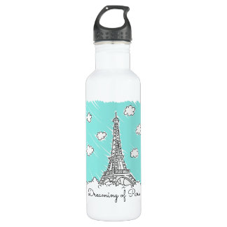 Eiffel Tower Illustration custom name water bottle