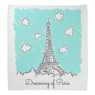 Eiffel Tower Illustration custom text bandana