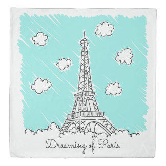 Eiffel Tower Illustration custom text duvet cover