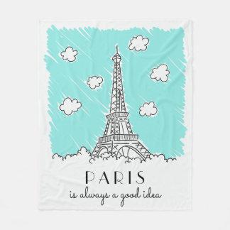 Eiffel Tower Illustration custom text fleece
