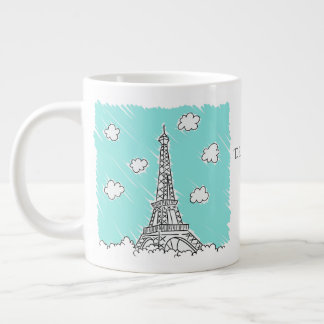 Eiffel Tower Illustration custom text jumbo mug