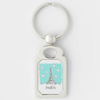 Eiffel Tower Illustration custom text key chain