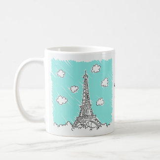 Eiffel Tower Illustration custom text mugs