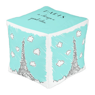 Eiffel Tower Illustration custom text poufs