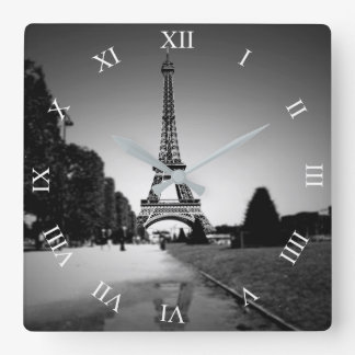 Eiffel Tower In B&W Spotlight Square Wall Clock