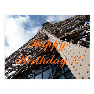 Eiffel Tower in of Paris birthday map Postcard