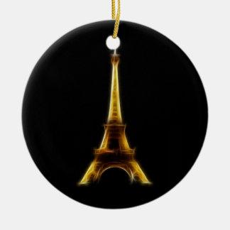 Eiffel Tower in Paris France Round Ceramic Ornament