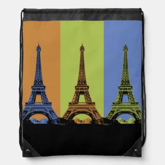 Eiffel Tower in Paris Triptych Drawstring Bag