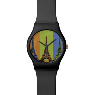 Eiffel Tower in Paris Triptych Wrist Watch
