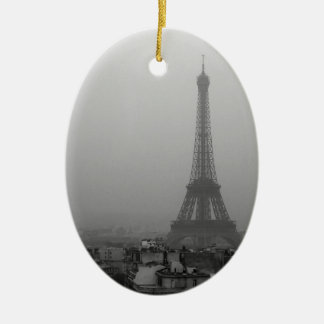 Eiffel Tower in the mist Ceramic Oval Ornament