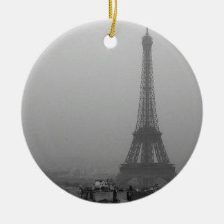 Eiffel Tower in the mist Round Ceramic Ornament
