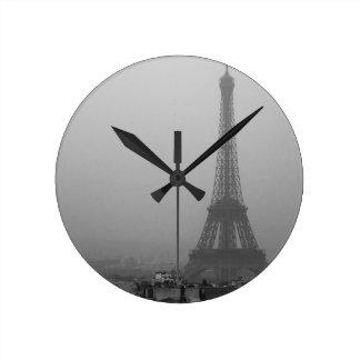 Eiffel Tower in the mist Round Clock