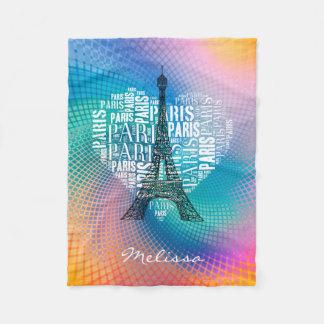 Eiffel Tower & Inscriptions Paris | Colorful Fleece Blanket