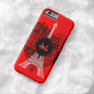 Eiffel Tower & Inscriptions Paris in Heart Barely There iPhone 6 Case
