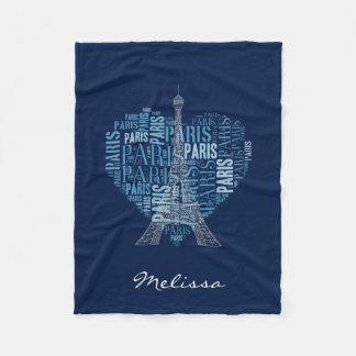Eiffel Tower & Inscriptions Paris in Heart | Blue Fleece Blanket