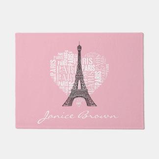 Eiffel Tower & Inscriptions Paris in Heart Doormat