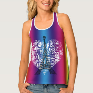 Eiffel Tower & Inscriptions Paris in Heart Tank Top