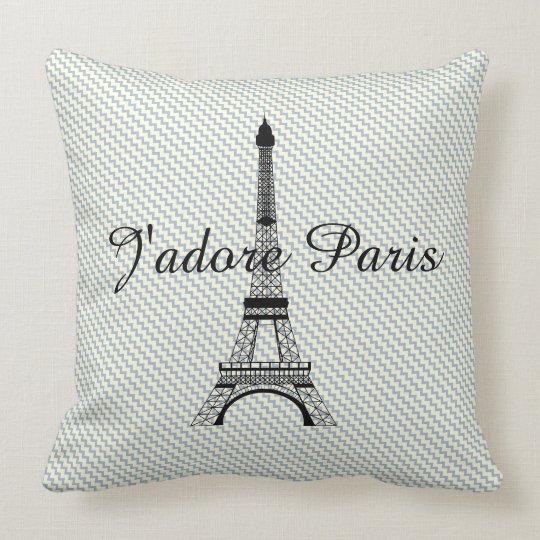 Eiffel tower J'adore Paris Throw Pillow