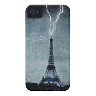 Eiffel Tower - Lightning strike 1902 - in blue iPhone 4 Case