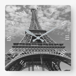 Eiffel Tower Looking Up B&W Square Wall Clock